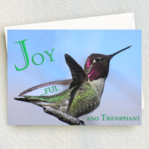 Anna Hummingbird with wings up Joyful 5 x 7 card