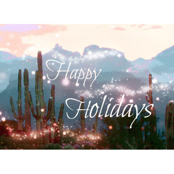 Saguaros and Catalina Mountains with magical sparkles