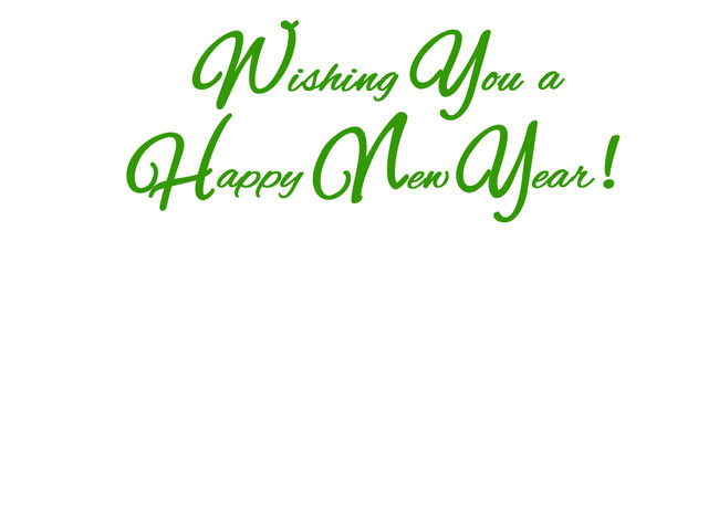 "Choose blank inside/back of your card or ""Wishing You a Happy New Year!"""