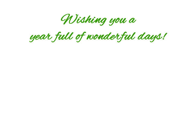 "Choose blank inside/back of your card or ""Wishing you a year full of wonderful days!"""
